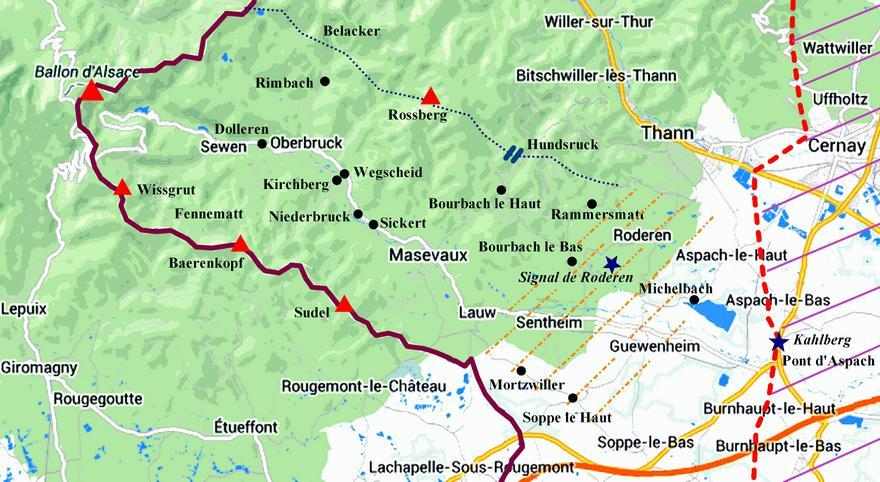 Carte Alsace Thann.Le Secteur De Masevaux En 1914